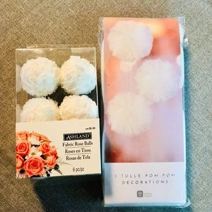 🌷Tulle Pom Pom 3 Pack + Fabric Rose balls 6 Pack